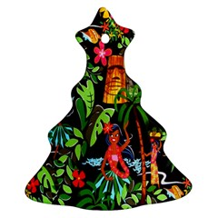 Hawaiian Girls Black Flower Floral Summer Christmas Tree Ornament (two Sides)