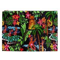 Hawaiian Girls Black Flower Floral Summer Cosmetic Bag (xxl)