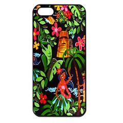 Hawaiian Girls Black Flower Floral Summer Apple Iphone 5 Seamless Case (black)