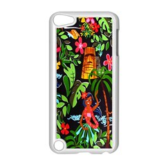Hawaiian Girls Black Flower Floral Summer Apple Ipod Touch 5 Case (white)