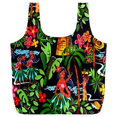 Hawaiian Girls Black Flower Floral Summer Full Print Recycle Bags (l)