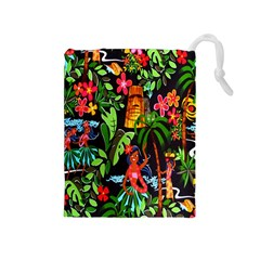 Hawaiian Girls Black Flower Floral Summer Drawstring Pouches (medium)