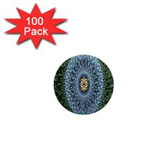 Hipnotic Star Space White Green 1  Mini Magnets (100 Pack)
