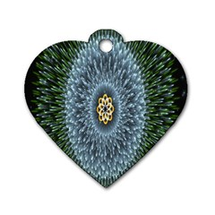 Hipnotic Star Space White Green Dog Tag Heart (one Side)