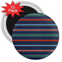 Horizontal Line Blue Green 3  Magnets (10 Pack)