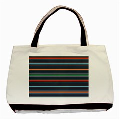 Horizontal Line Blue Green Basic Tote Bag (two Sides)