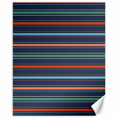 Horizontal Line Blue Green Canvas 11  X 14