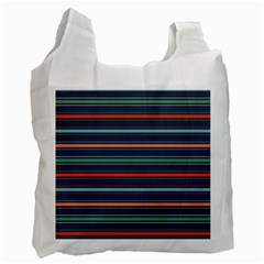 Horizontal Line Blue Green Recycle Bag (two Side)