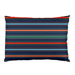 Horizontal Line Blue Green Pillow Case (two Sides)