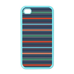 Horizontal Line Blue Green Apple Iphone 4 Case (color)
