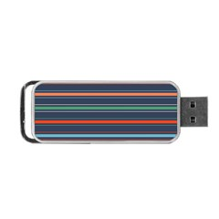 Horizontal Line Blue Green Portable Usb Flash (two Sides)