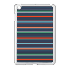 Horizontal Line Blue Green Apple Ipad Mini Case (white)