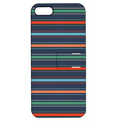 Horizontal Line Blue Green Apple Iphone 5 Hardshell Case With Stand