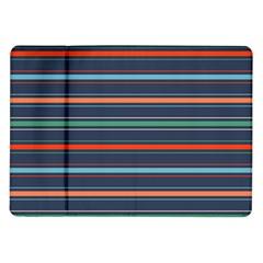 Horizontal Line Blue Green Samsung Galaxy Tab 10 1  P7500 Flip Case