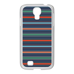 Horizontal Line Blue Green Samsung Galaxy S4 I9500/ I9505 Case (white)