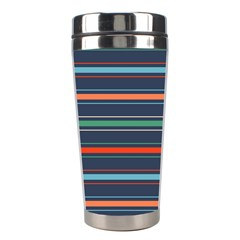 Horizontal Line Blue Green Stainless Steel Travel Tumblers