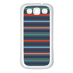Horizontal Line Blue Green Samsung Galaxy S3 Back Case (white)