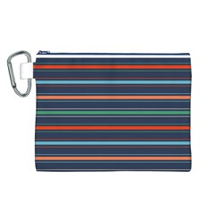 Horizontal Line Blue Green Canvas Cosmetic Bag (l)