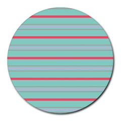 Horizontal Line Blue Red Round Mousepads