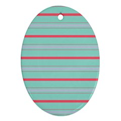 Horizontal Line Blue Red Ornament (oval)