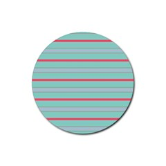 Horizontal Line Blue Red Rubber Round Coaster (4 Pack)