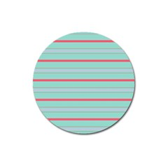 Horizontal Line Blue Red Magnet 3  (round)