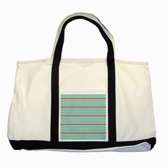 Horizontal Line Blue Red Two Tone Tote Bag