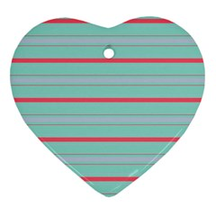 Horizontal Line Blue Red Heart Ornament (two Sides)