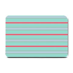 Horizontal Line Blue Red Small Doormat