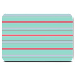Horizontal Line Blue Red Large Doormat