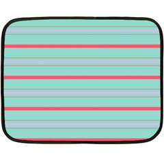 Horizontal Line Blue Red Double Sided Fleece Blanket (mini)
