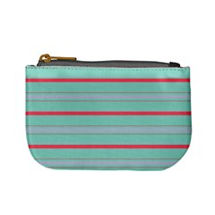 Horizontal Line Blue Red Mini Coin Purses