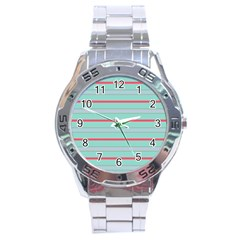 Horizontal Line Blue Red Stainless Steel Analogue Watch