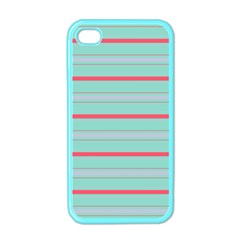 Horizontal Line Blue Red Apple Iphone 4 Case (color)