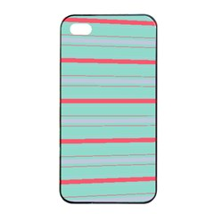 Horizontal Line Blue Red Apple Iphone 4/4s Seamless Case (black)
