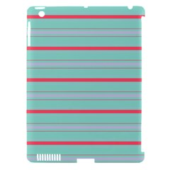 Horizontal Line Blue Red Apple Ipad 3/4 Hardshell Case (compatible With Smart Cover)