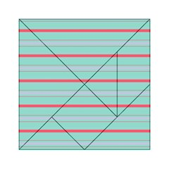 Horizontal Line Blue Red Acrylic Tangram Puzzle (6  X 6 )