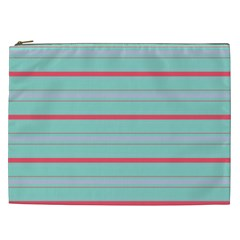 Horizontal Line Blue Red Cosmetic Bag (xxl)