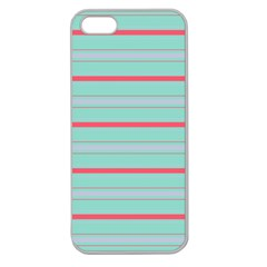 Horizontal Line Blue Red Apple Seamless Iphone 5 Case (clear)