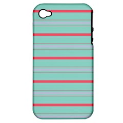 Horizontal Line Blue Red Apple Iphone 4/4s Hardshell Case (pc+silicone)