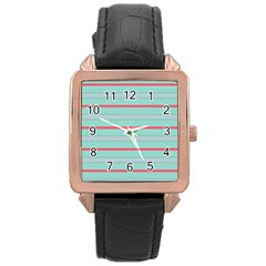 Horizontal Line Blue Red Rose Gold Leather Watch