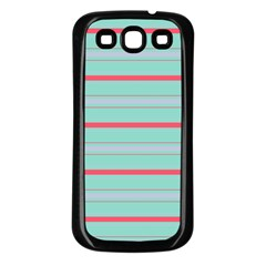 Horizontal Line Blue Red Samsung Galaxy S3 Back Case (black)