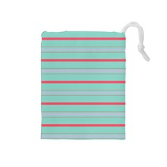 Horizontal Line Blue Red Drawstring Pouches (medium)