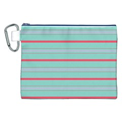 Horizontal Line Blue Red Canvas Cosmetic Bag (xxl)