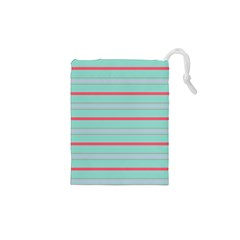 Horizontal Line Blue Red Drawstring Pouches (xs)