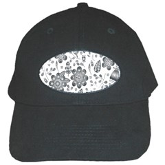 Grayscale Floral Heart Background Black Cap