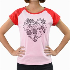 Grayscale Floral Heart Background Women s Cap Sleeve T Shirt