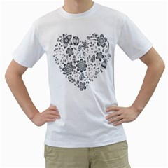 Grayscale Floral Heart Background Men s T Shirt (white) (two Sided)