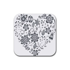 Grayscale Floral Heart Background Rubber Square Coaster (4 Pack)