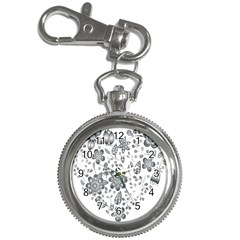 Grayscale Floral Heart Background Key Chain Watches